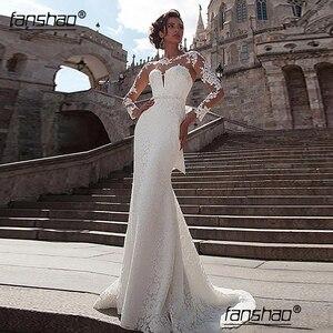 Fanshao Mermaid Long Sleeves Vestido De Noiva Appliques Wedding Dresses Lace Dubai Arabic Wedding Gowns Bridal With Bow Belt