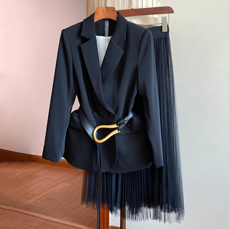 عالية الجودة المرأة الربيع الخريف Vintage سترة الموضة أنيقة معطف شبكة تنورة قطعتين دعوى مجموعة
