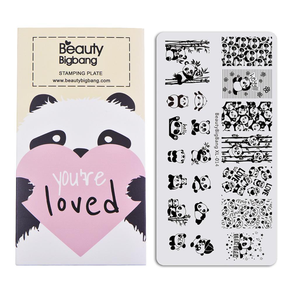 BeautyBigBang estampado para uñas 6*12cm placas de estampado Líneas geométricas Panda Plantilla de sellos para decoración molde para uñas BBB XL-014
