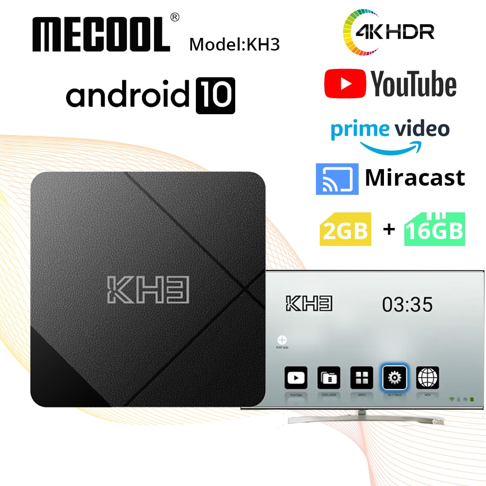 صندوق تلفاز أندرويد 10.0 ميكول KH3 2GB 16GB Allwinner H313 تلفاز ذكي رباعي النواة 2.4G واي فاي BT 4.1 على القمة لفيديو يوتيوب برايم