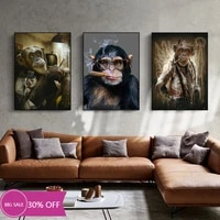 Toile de decoration de noel  affiches danimaux  le singe qui fume  tableau dart mural pour salon  decoration de maison