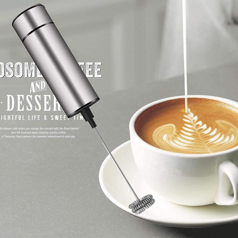 Vaporizador de leche de batería para café, funciona con vaporizador de leche espuma Cappuccino Latte vaporizador Frappe mezclador para beber Chocolate caliente