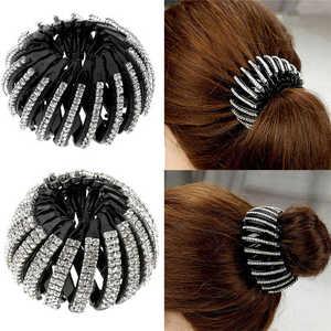 Кристаллический инструмент для создания волос конский хвост держатель коготь булочка женские зажимы бутон блеск