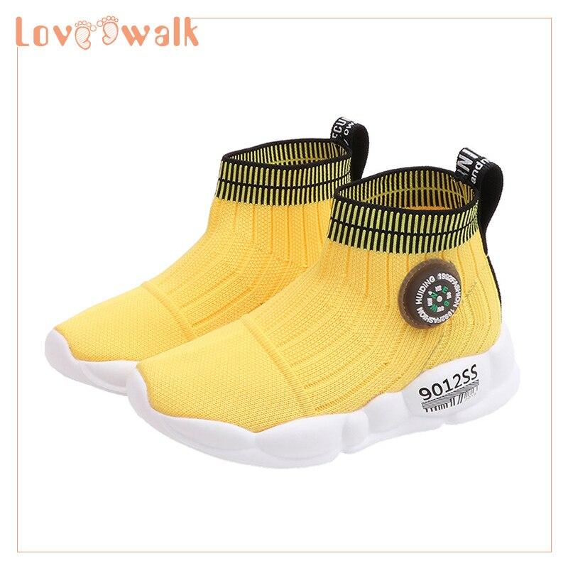 Zapatillas de deporte altas para niñas, zapatillas de deporte para niños pequeños, zapatillas elásticas para niños, calcetines, zapatillas de deporte, Color caramelo, zapatillas para bebés, zapatos de otoño para niñas