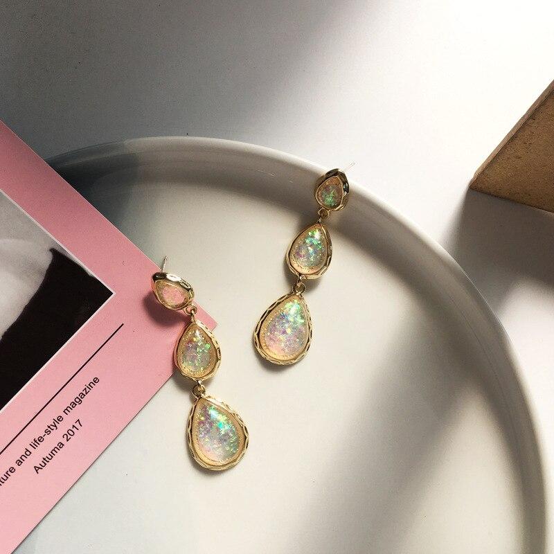 Nuevos pendientes de lágrima larga con temperamento de estilo coreano para mujer, joyería de resina verde, pendientes simples colgantes, regalos de joyería