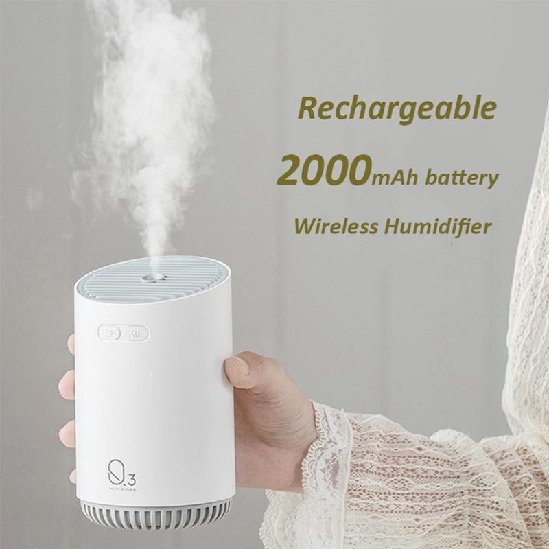 مرطب هواء لاسلكي مع بطارية 320 مللي أمبير ، ناشر زيت عطري كهربائي بالموجات فوق الصوتية ، رذاذ بارد ، للعلاج بالروائح ، 2000 مل