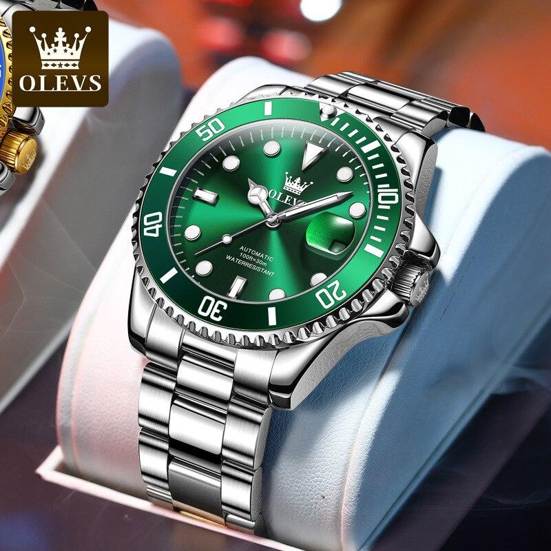OLEVS Laurie Watch Classic Hercules Green Water Ghost Mechanical Watch Men's Watch Men's Watch