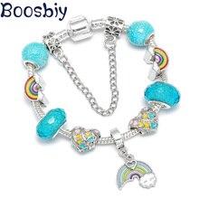 Boosbiy DIY Regenbogen Charme Anhänger Charme Armbänder Für Frauen Luxus Marke Armband Handgemachte Romantische Exquisite Schmuck Geschenk