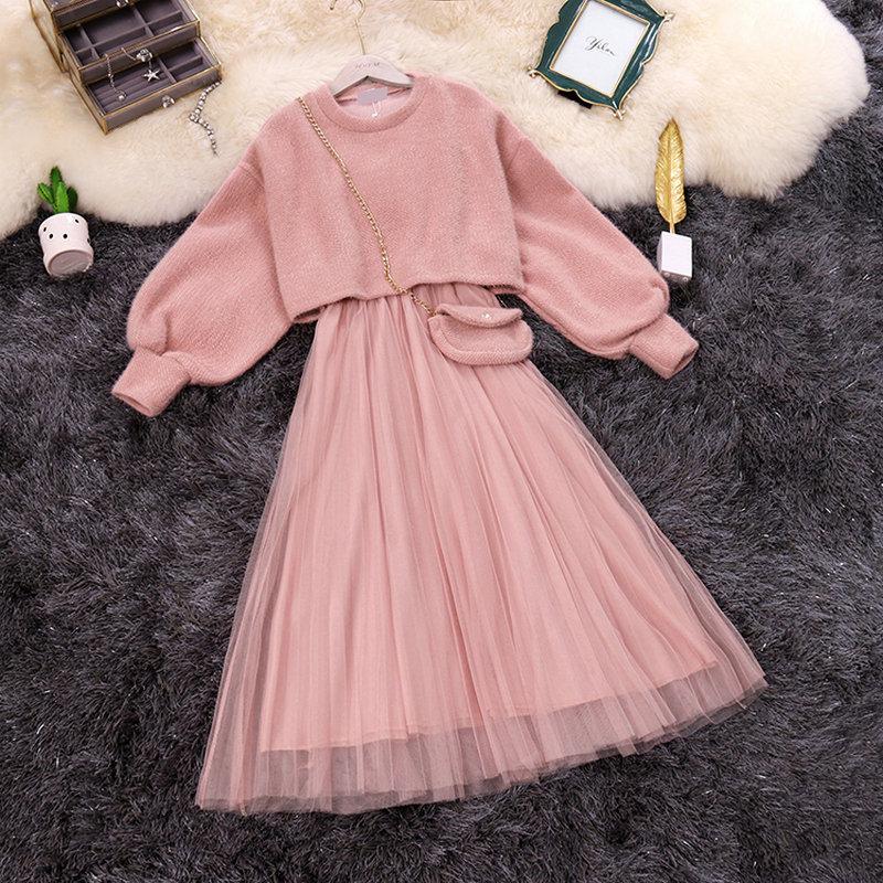¡Primavera 2020! Nuevo vestido de mujer con cuello redondo manga farol blusas de punto + vestido acampanado de hada con correa con bolsa conjuntos de dos piezas trajes de mujer