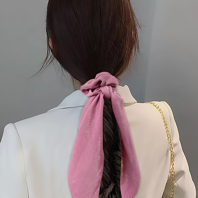 Korean Knotted Elastic Hair Bands Accessories Fashion Hair Band Long Ribbon Bow Ponytail Hair Tie Scrunchies Women Girl Headband 2pcs sweet charming long tail ribbon floral headband tie women boho double loop alice band hairbands