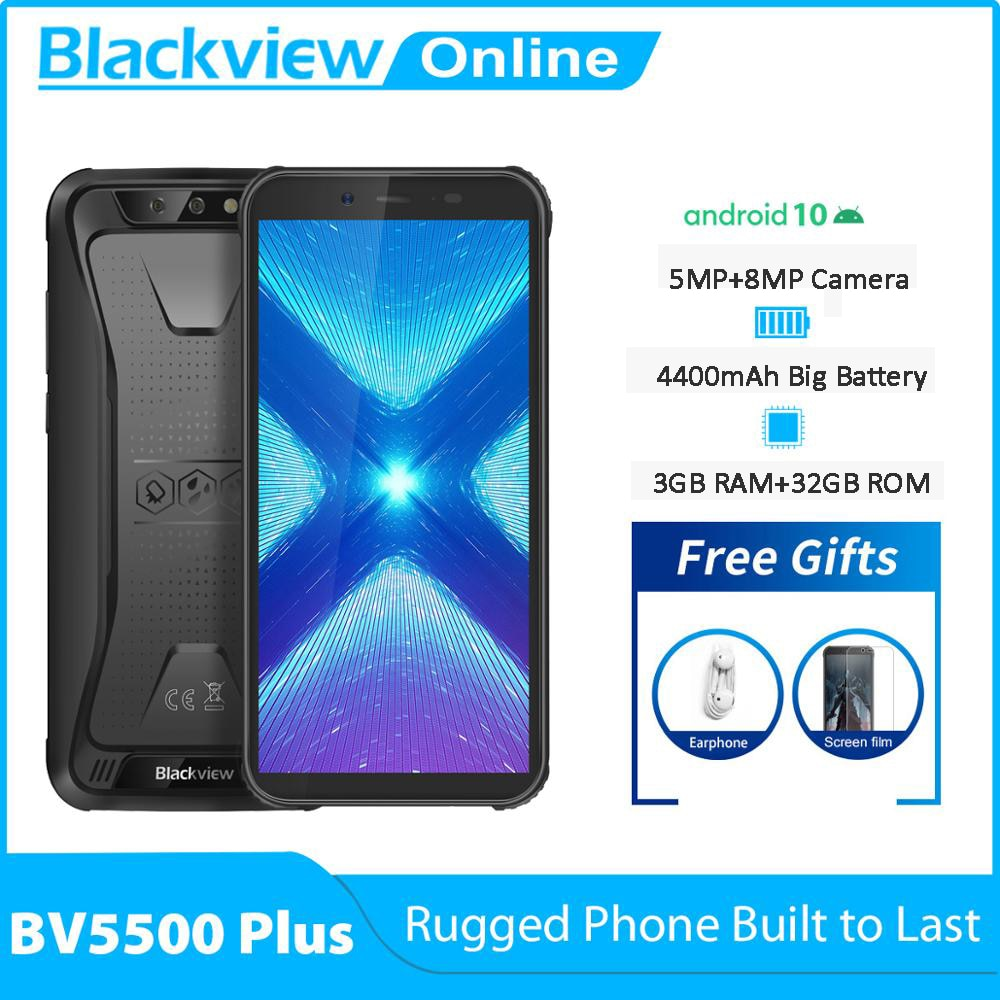 Blackview New BV5500 Plus 3GB+32GB Android 10.0 IP68 Waterproof Rugged Smartphone 5.5'' Full Screen 4400mAh 4G Mobile Phone