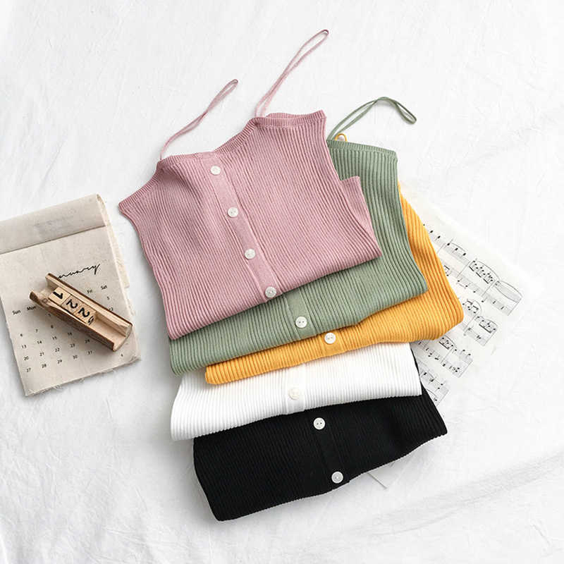 Summer 2021 New Solid Color Backless Camisole Women's Inner Single-Breasted Slim Fit Short Shipment