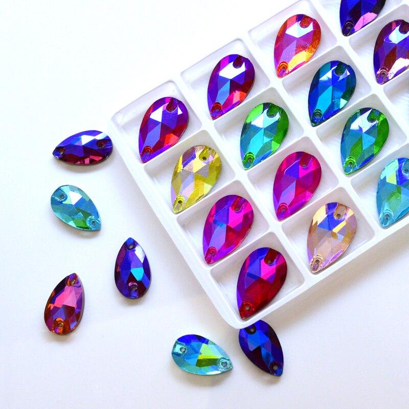 QL Crystal 2020 popular colorful AB Tear Drops Sew On Stones and Crystal Sewing On Rhinestone 2 Holes DIY Garment Dress Making