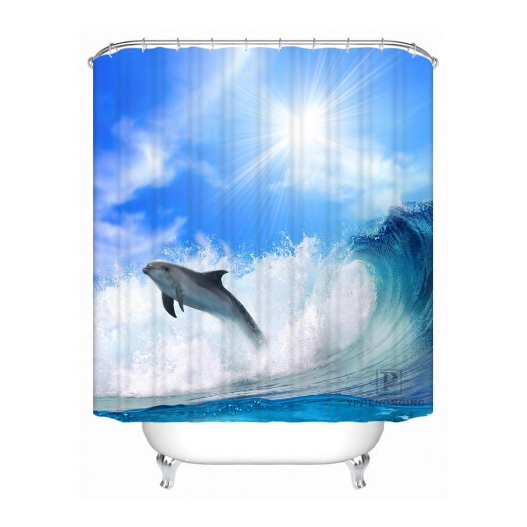 100% poliéster personalizado Popular delfín divertido @ 2 tela cortina de Ducha moderna baño impermeable nueva llegada H0223-48