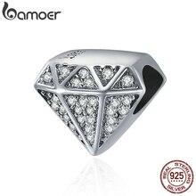 BAMOER authentique 925 en argent Sterling de luxe forme géométrique clair CZ perles ajustement Original Bracelet à breloques Fine bijoux S925 SCC397