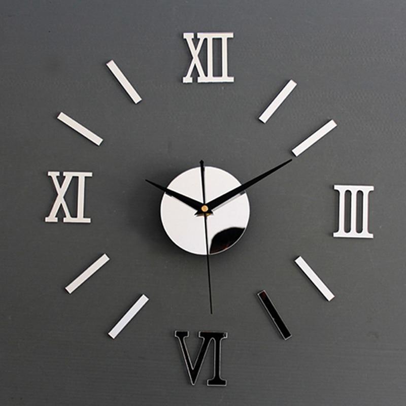 Roman Numerals Frameless Large Acrylic Mirror Surface 3D DIY Wall Clock Home Office School Wall Decor Clock Stickers NN