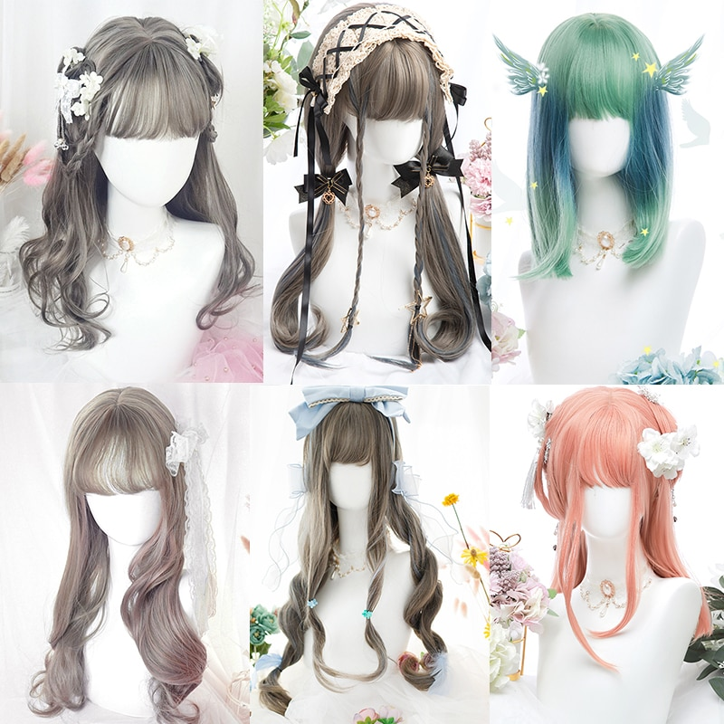 MANWEI Harajuku Pink Grey Lolita Wig Long Multicolor Realistic Cosplay Wigs With Bangs For Women Wavy Wigs Synthetic Hair