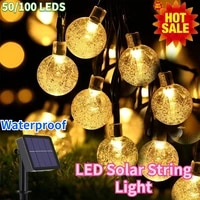 2050100 led solar string light outdoor solar crystal ball lamp led 8 modes fairy lights waterproof for christmas party decora