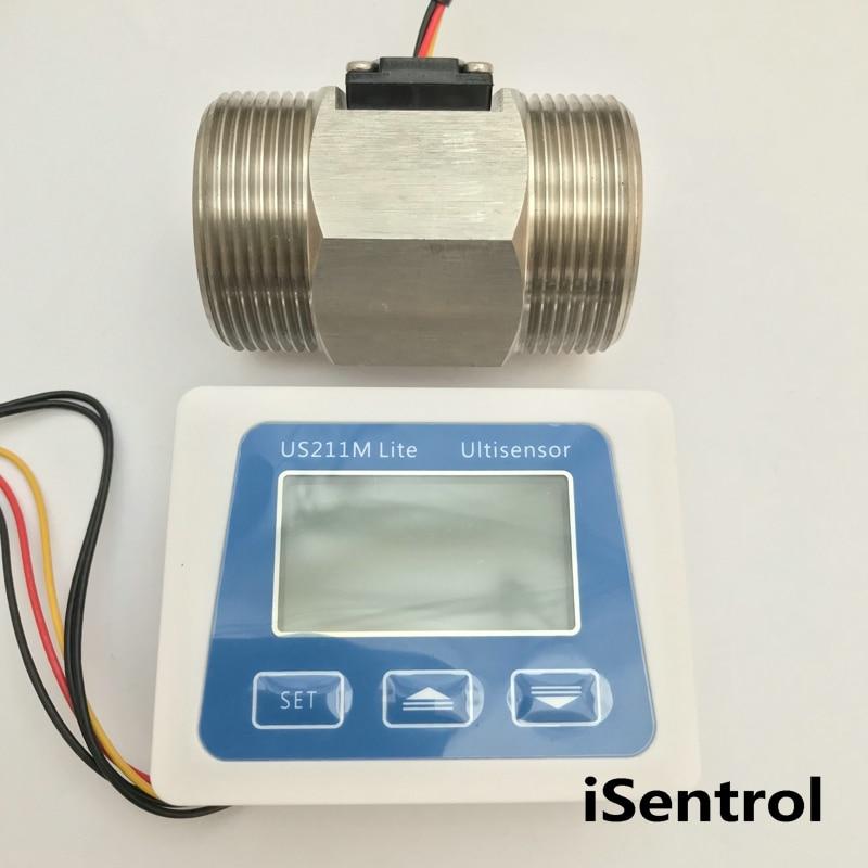 Us211m lite medidor de fluxo com dn50 sensor de fluxo USS-HS20TA aço inoxidável 304 turb 10-300l/min leitor de fluxo digital medidor de fluxo 5v