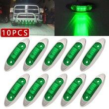 10 stücke 3LED Licht 4Inch Oval Freiheit Anhänger Lkw Seite Marker Lampe Grün