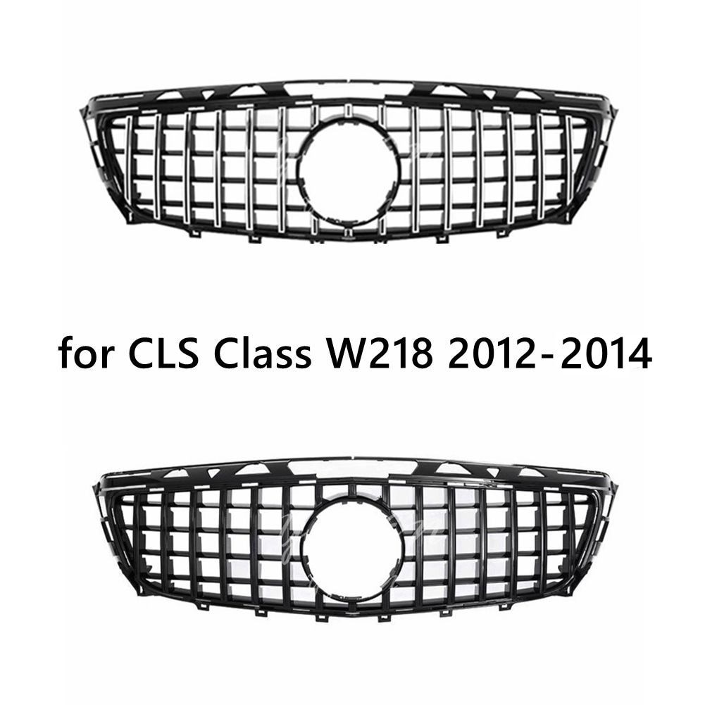 GT Front Bumper Grille for 2012- 2014 Mercedes CLS Class W218 Pre-facelift Black Silver