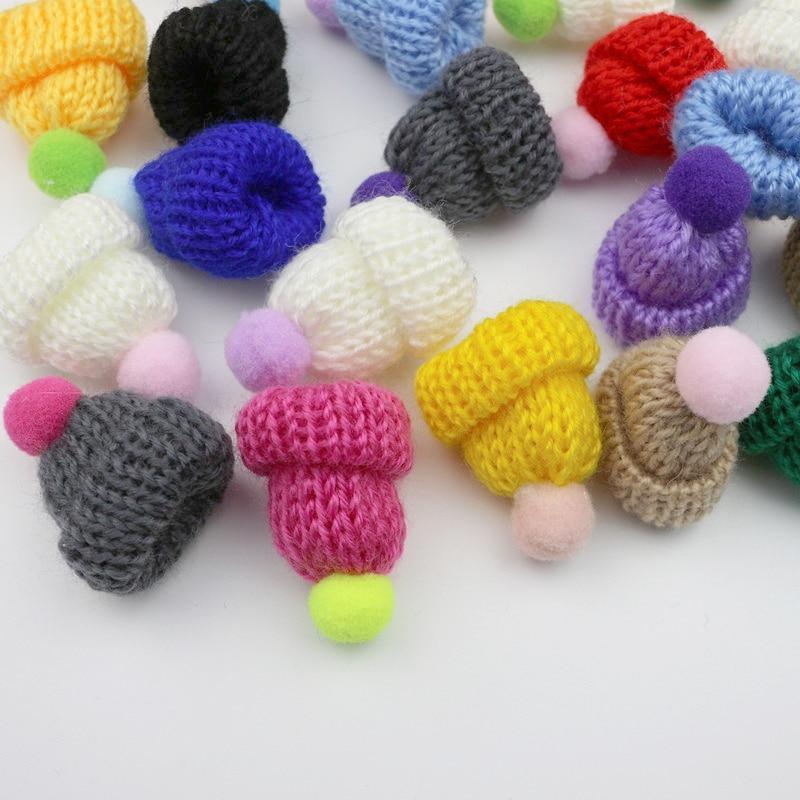 10-50Pcs Knitting Mini Pompon Hats DIY Craft Supplie Headwear Brooch Crochet Toys Decor Jewelry Acce