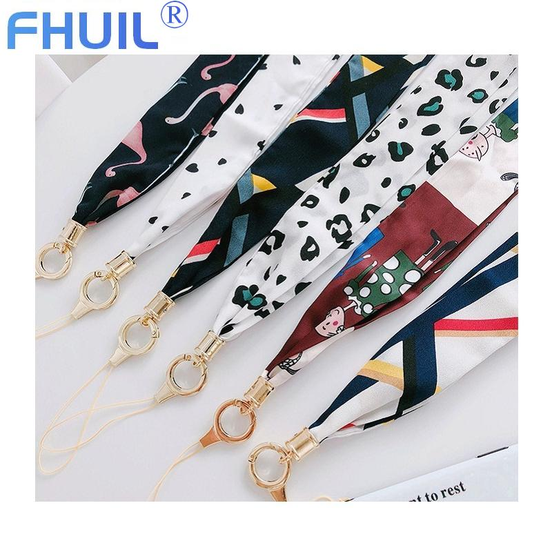Phone necklace scarves cute mobile string kawaii polyester lanyard neck strap for key handy USB Key phone holder sling