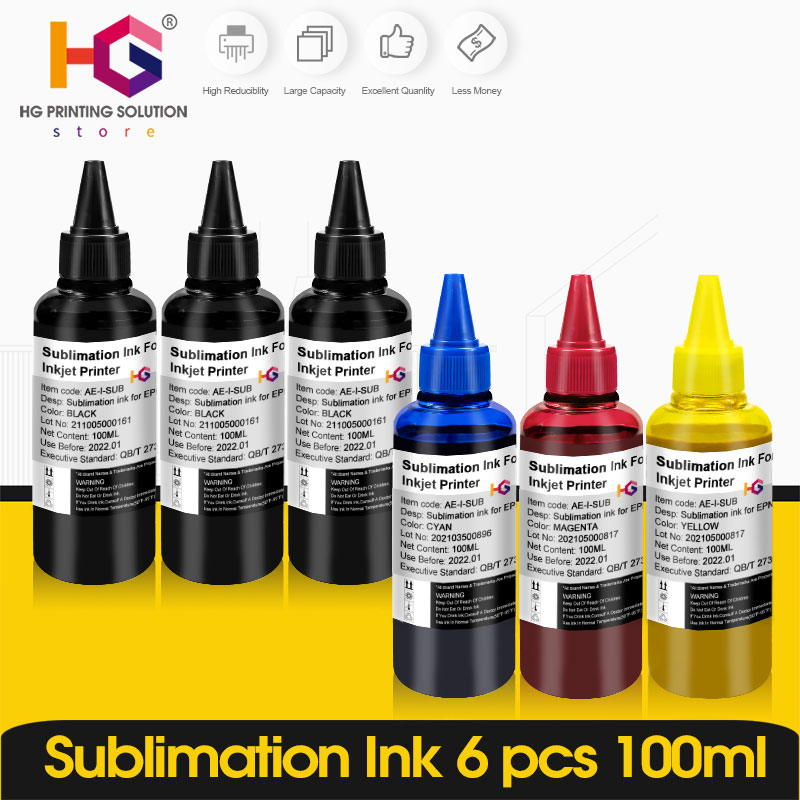 6 BottLe Inkjet Sublimation Ink Universal 6 Color x 100ML For Epson Desktop Printers Heat Transfer Ink Heat Press Used