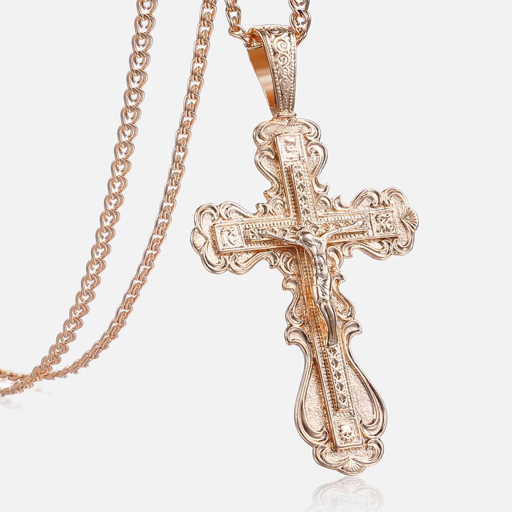 Crucifix Cross Pendant Necklace For Women Men 585 Rose Gold Snail Link Chain Cross Necklace Fashion Wholesale Jewelry KGP172