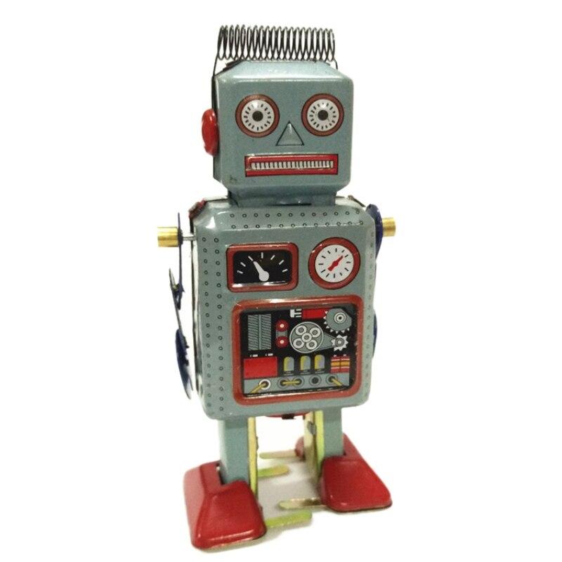 Juguete de cuerda mecánica Vintage para niños, Robot de lata de Metal...