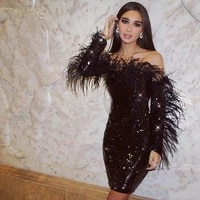 black sheath cocktail party dresses long sleeves off shoulder feathers sequined short prom evening gowns sexy club wear