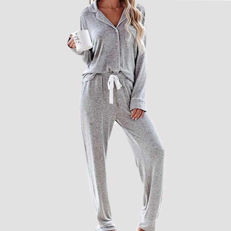 Women New Autumn Tie-Dye Turn-Down Collar Button Homewear Pajama Suits Full Sleeve Pants Sleepwear Soft Skin-Friendly Loungewear