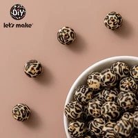 lets make 20pc silicone leopard print bead food grade teether round printing 1215mm diy crafts baby teether safe rattle beads
