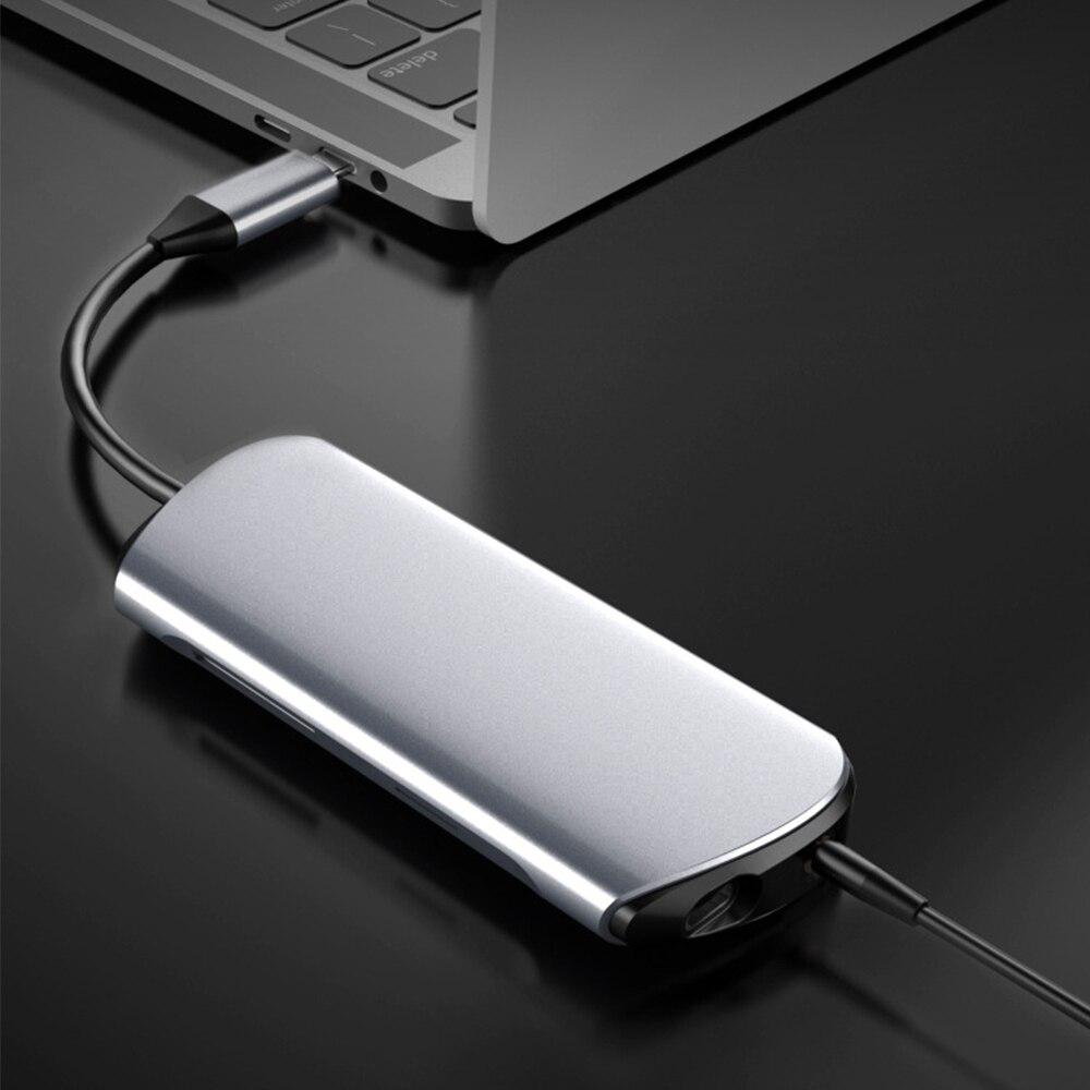 محول USB C Hub 8in1 Type C مهايئ USB C إلى HDMI متوافق مع قارئ بطاقات SD/TF و Ethernet 3 منافذ USB 3.0 Usbhub للماك بوك