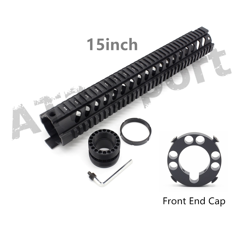 Tactical 15inch AR-15 .223/5.56 Free Float Quad Handguard Rail M16 M4 Handguard RAS Hunting Hand Guard Black Anodized