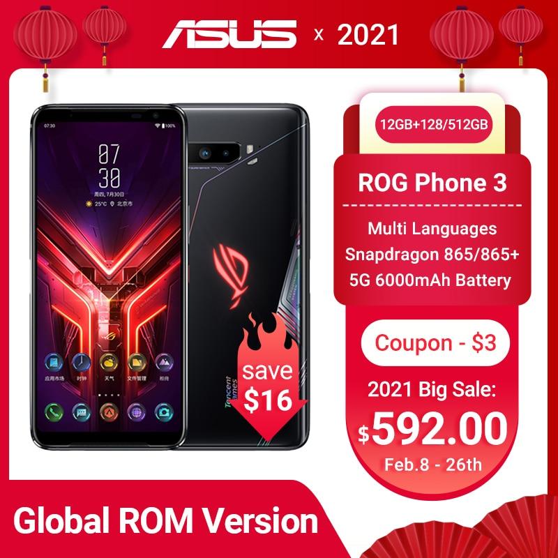 Перейти на Алиэкспресс и купить Глобальный Встроенная память ASUS ROG 3 телефона 5G игровой телефон Snapdragon 865/865 плюс 6000 мА/ч, 144 Гц FHD + безрамочный экран AMOLED Android Q NFC ROG3 5G смартфон