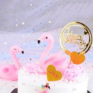3D Pink Flamingo Cake Topper Sitting Position Wedding Birthday Event Party Baby Shower Cake Baking DIY Decoration Supplies