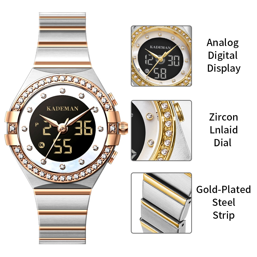 KADEMAN Women Luxury Brand Watch Dual Display Rhinestone Elegant Lady Watchs Gold Clock Wrist Watches For Women Relogio Feminino enlarge