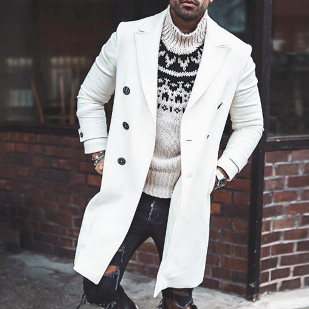 معطف أوروبي للرجال ، مزدوج الصدر ، أبيض ، جيوب ، طية صدر السترة ، طويل ، معطف واق من المطر ، ملابس خارجية كبيرة الحجم ، جاكيت مكتب غير رسمي ، رب...