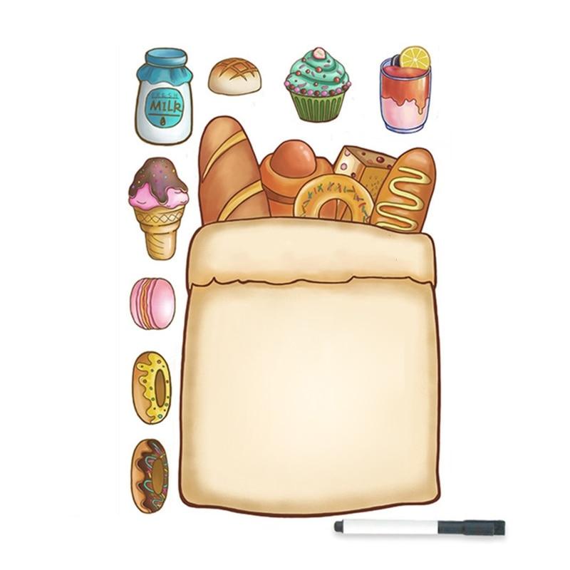 Bread Bag Magnetic Whiteboard Fridge Magnets Remind Memo Message Board with Pens K3KB