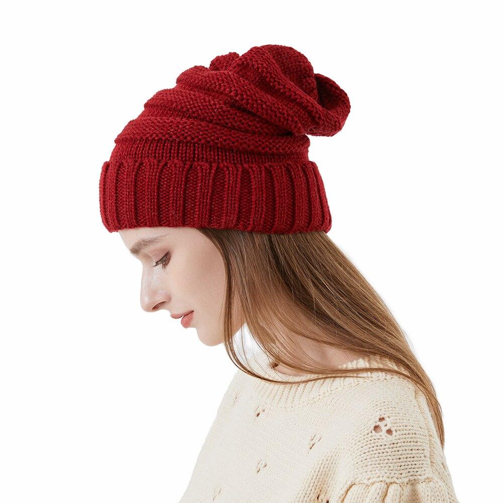 Новинка 2021, женские зимние теплые облегающие шапки, повседневные однотонные шапки, сшитые плюшевые шапки, вязаные крючком Осенние вязаные о...