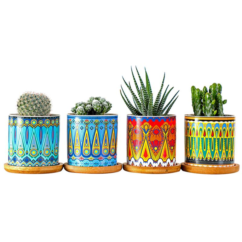 1 Conjunto de flores maceta para suculenta plantadores Mini maceta cerámica diseño de Mandala Bonsai macetas de la Oficina para el hogar plantas de semillas