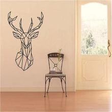 Noël cerf autocollant mural conception géométrique tête de cerf géométrie série animale stickers 3D vinyle mur Art personnalisé décor à la maison