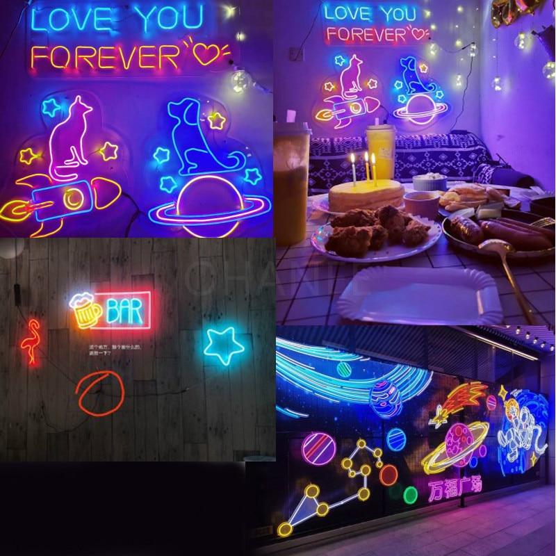 Custom Neon Sign Happy Birthday Flex Led Custom  Party Wedding Neon Decor Sign Home Room Wall Decoration Ins  Sign enlarge