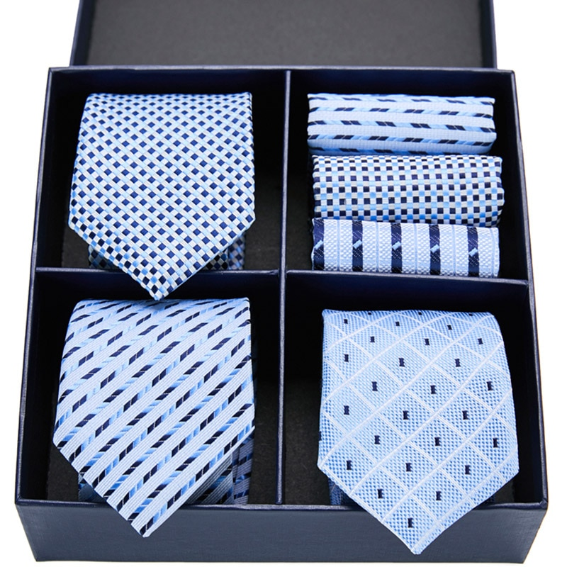 Gift box packing 100% Silk Ties For Men Novelty Hanky  Set 3 Styles  Men's Tie Formal Red Cravat for Wedding Business Necktie