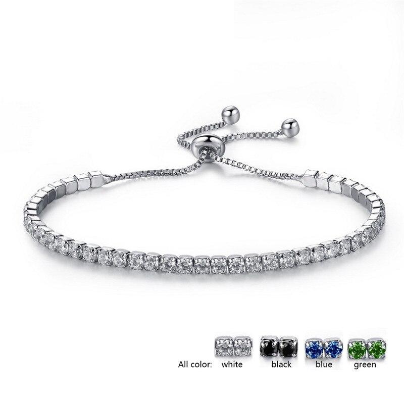 Nuevas pulseras de tenis de moda ajustable Crazy Feng para mujer, brazalete de cadena de Color plata brillante cristal y pulsera amp, regalo de joyería