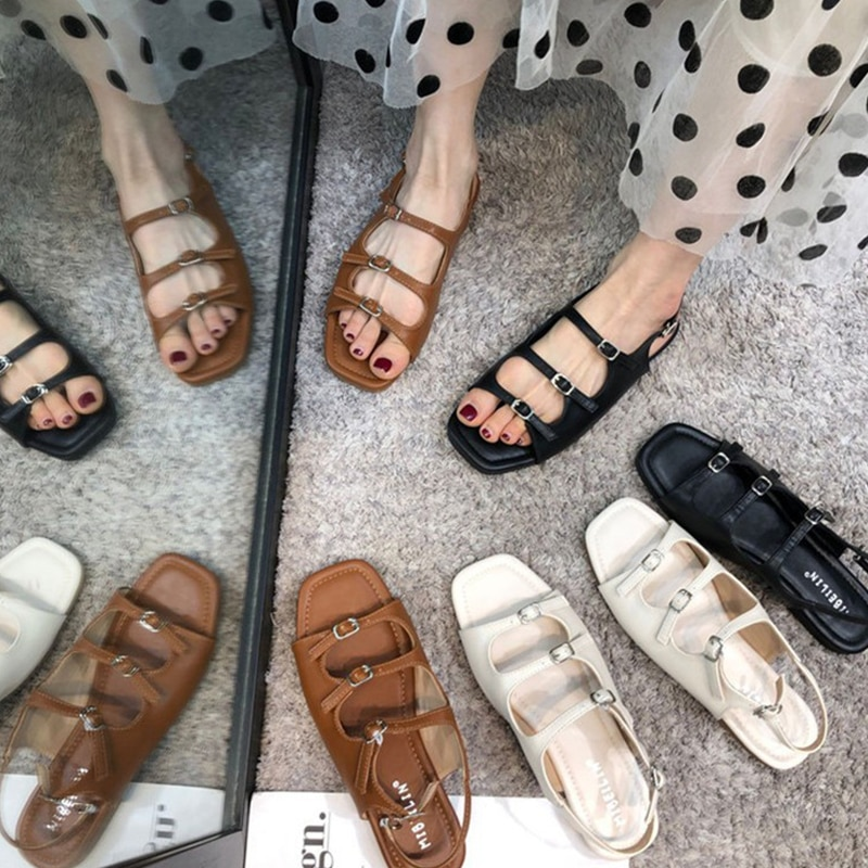 Gladiator Flat Sandals Ladies Summer Outdoor Fashion Leather Shoes Round Toe Elegent Slipper Adjustable Buckle Strap Casual