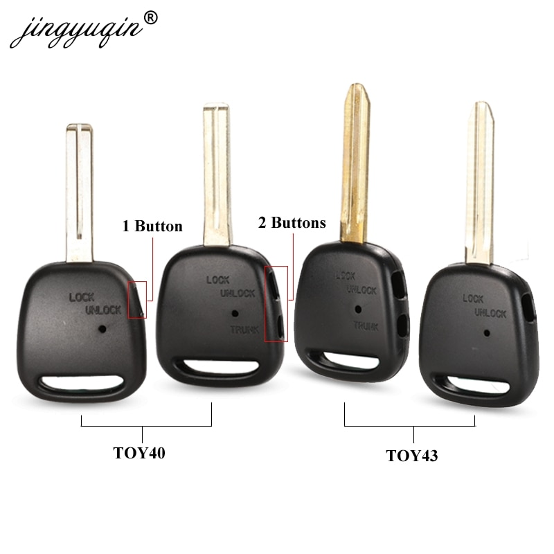Jingyuqin 1/2 lado botão remoto chave do escudo para toyota carina estima harrier previa corolla celica caso chave toy43/toy40 lâmina