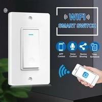 100-240V Smart WIFI interrupteur de lumiere murale ABS panneau tactile commutateur Compatible pour Google Alexa maison intelligente interrupteur mural minuterie fonction