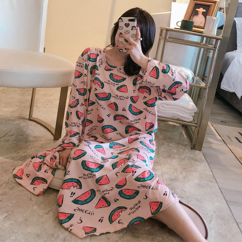 Camisola feminina primavera e outono manga longa coreano-estilo fresco estudantes bonito melancia saias longas soltas e tamanhos grandes paj